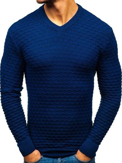 Tmavomodrý pánsky sveter s výstrihom do V BOLF 6005