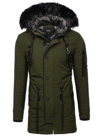 Zelená pánska zimná bunda parka BOLF 1068