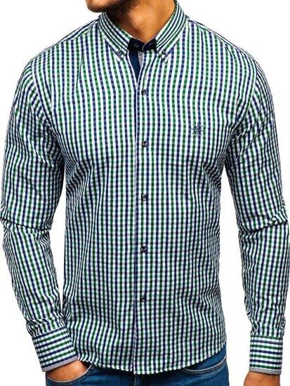 Zeleno-tmavomodrá pánska károvaná vichy košeľa s dlhými rukávmi BOLF 4712