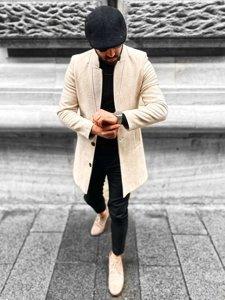 Béžový pánsky zimný kabát Bolf 0010