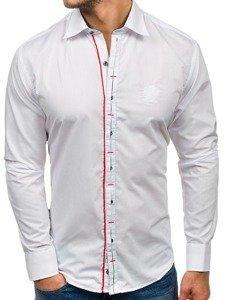 Biela pánska elegantá košeľa s dlhými rukávmi BOLF 1769