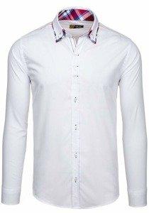 Biela pánska elegantná košeľa s dlhými rukávmi BOLF 2705