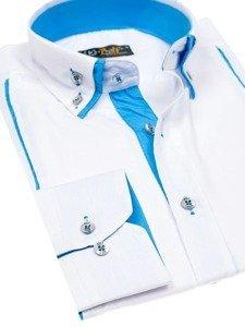 Biela pánska elegantná košeľa s dlhými rukávmi BOLF 4744