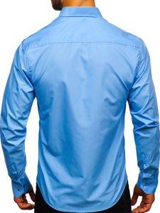 Blankytná pánska elegantná košeľa s dlhými rukávmi Bolf 5821