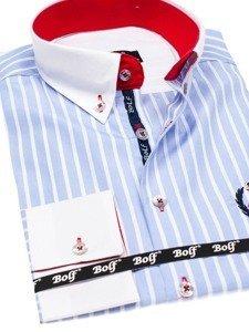 Blankytná pánska prúžkovaná košeľa s dlhými rukávmi BOLF 1771