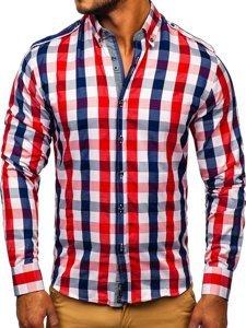 Červená pánska károvaná košeľa s dlhými rukávmi BOLF 2779
