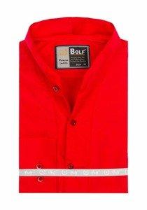 Červená pánska košeľa s dlhými rukávmi Bolf 5702