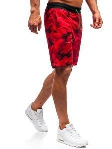 Červené maskáčové pánske teplákové kraťasy BOLF NP25