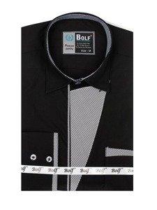 Čierna pánska elegantná košeľa s dlhými rukávmi BOLF 4713