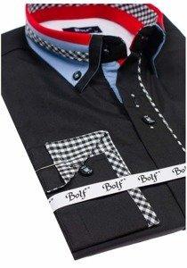 Čierna pánska elegantná košeľa s dlhými rukávmi BOLF 6874
