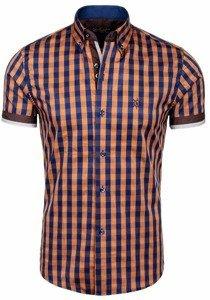 Hnedá pánska kockovaná košeľa s krátkymi rukávmi BOLF 4508