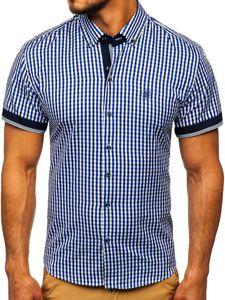 Kraľovský modrá pánska károvaná košeľa s krátkymi rukávmi BOLF 4510