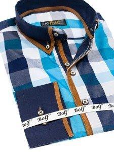 eb3ca043e2fb Previous. Modro-tmavomodrá pánska károvaná košeľa s dlhými rukávmi BOLF 5719  ...