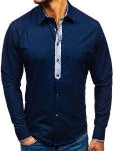 Tmavomodrá pánska elegantná košeľa s dlhými rukávmi BOLF 0939