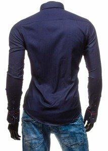 Tmavomodrá pánska elegantná košeľa s dlhými rukávmi BOLF 5801