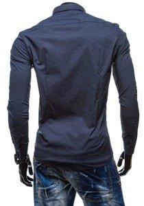 Tmavomodrá pánska elegantná košeľa s dlhými rukávmi BOLF 7182