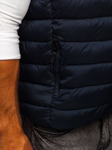 Tmavomodrá pánska prešívaná vesta s kapucňou Bolf B2901