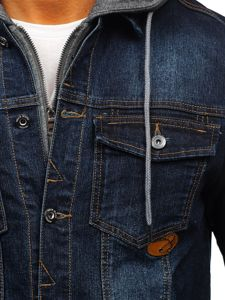 Tmavomodrá pánska rifľová bunda Bolf AK531