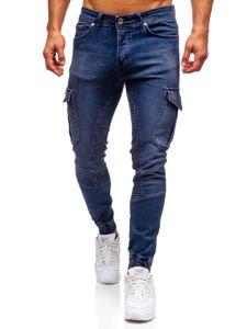 Tmavomodré pánske rifľové joggery Bolf 1053