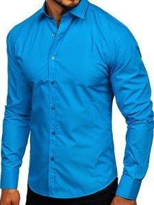Tyrkysová pánska elegantná košeľa s dlhými rukávmi BOLF 1703
