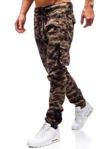 Zelené pánske maskáčové kapsáčové joggery BOLF 0705